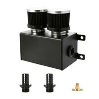 "Aluminium Baffled Engine Oil Catch Can 1.2L Dual Baffled Twin Filter 2x 3/4"" BK"