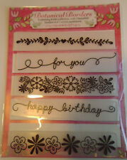Set of 5 Embossing Folders, Botanical Borders w/ Happy Birthday, Jennifer Ellory