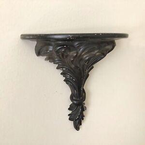 Vintage Painted Ceramic Decorative Wall Shelf Sconce Black Chippy Cottage Chic