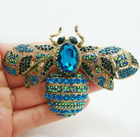 Fashion Elegant Bee Insectl Gold-tone Brooch Pin Pendant Blue Crystal Rhinestone
