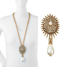 ANTHROPOLOGIE STARBUST SPARKLING RHINESTONES PEARL NECKLACE - CAN BE BROOCH NEW