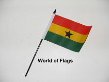 "GHANA SMALL HAND WAVING FLAG 6"" x 4"" Ghanaian Africa African Crafts Display"