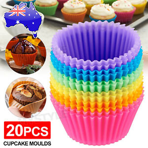 20x Round Cup Cake Silicone Baking Mould Cupcake Case DIY Bake Mold Muffin