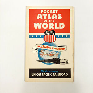 1940s Union Pacific Railroad Pocket Atlas of World War Time WWII Maps Victory