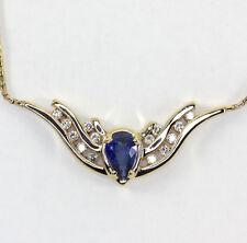 Diamante zafiro collar 14K oro amarillo ala ángel pera brillante redondo 1,50CT