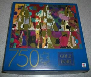 NEW Gold Dore 750 Pc Puzzle Milton Bradley Triangles & Abstract Circles 27 x 20