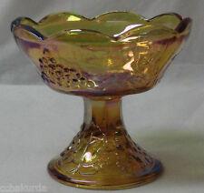 VTG Indiana Iridescent Carnival Glass pedestal Candle Holder Harvest Grapes FLAW
