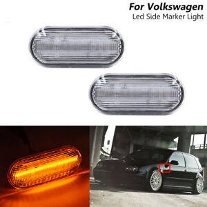 Amber Clear LED Side Marker Turn Signal Lights For Volkswagen Polo & Jetta Golf