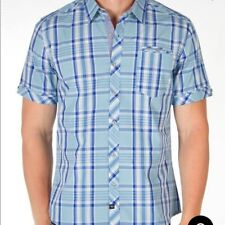 7 Diamonds Blue Plaid Button Up Short Sleeve Shirt | Men's XXL Top