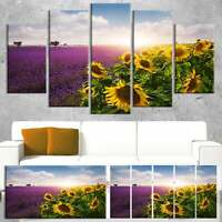 Designart 'Lavender and Sunflower Fields' Floral Canvas  Oversized