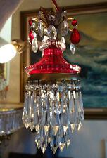 Vintage ruby Lady cupcake glass crystal Brass SWAG lamp chandelier foyer hallway