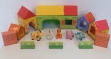 Pre-School Toy Farm. Card Farm Buildings.Plastic Toy Farm Animals.