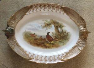 Large Antique Late Victorian Royal Worcester Ornate Pheasant Platter c1891
