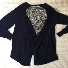 Cato Woman lightweight cardigan Navy Blue  w/ leopard print size 14/16 (S6)