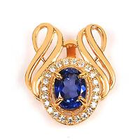 585er Gelbgold 1,50KT Natürlich Tansanit EGL Zertifiziert Diamant Anhänger