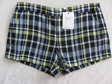 Joie 100% Linen Plaid Shorts - Dark Navy, White,Yellow - Size 6 - NWT $158