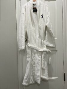 NWT Men's Polo Ralph Lauren White Big Pony Bath Robe L/XL Big Blue Pony Belted