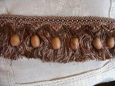 V11 ANCIEN GALON PASSEMENTERIE FLAMENCO PERLES  FRANGES  CHOCO CAFE AU LAIT