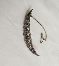 Beautiful Vintage Silver Crescent Brooch with Paste Stones