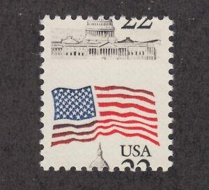 US Sc 2114 MNH. 1985 22c Flag Over Capitol Dome, horizontal MISPERF, fresh, VF