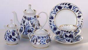 Tea set 6/21 pcs BLUEBELLS Cobalt &22K-gold Lomonosov Imperial Porcelain, Russia