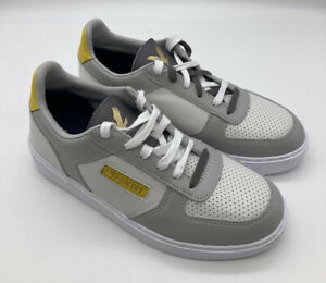 Lyle&Scott Womens Leather Lace Up Trainers White Grey Yellow Size 6 RRP£90