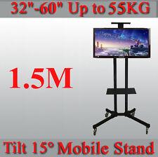 "Height Adjustable -15~15° Tilt Mobile TV Stand Trolley 32-60"" LED/Plasma/LCD TV"