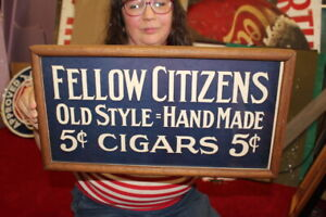 """Vintage 1930's Fellow Citizens 5c Cigars Tobacco General Store 19"""" Sign"""