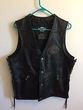 """Harley Davidson Men Eagle Logo """"Ride Free"""" Lacing Black Leather Vest Size Med M"""