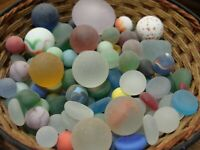 135 Vintage Glass Sea Beach Marbles/Pcs Flats Cats Eye Gem Red Blue Green Nice I