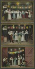 Lot of 3 Postcards Barn Dance Paper Lanterns Theochrom Series No. 1157 1910