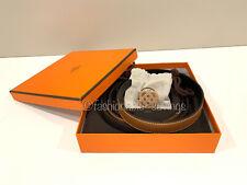 Hermes Gold Epsom/Black Swift Belt 24mm Rose Gold Iris Buckle 75cm New Authentic
