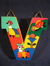 La Palma Folk Art from El Salvador Letter V Handcrafted from Recycled Wood