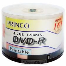 200 Princo 16X White Inkjet Hub Printable 4.7GB DVD-R [FREE USPS Priority Mail]
