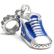 5 Pcs Blue Sneaker Boot Shoe Silver European Charms Beads For Bracelet L#540