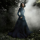 Embroidery Evening Dresses Navy Blue Satin Beaded Formal Party Ball Gown Custom