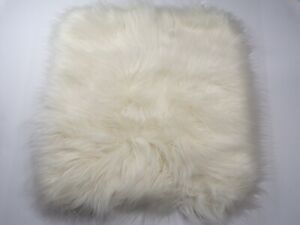 Pottery Barn Teen Ivory Faux Mongolian Fur Pillow Cover Euro #4831