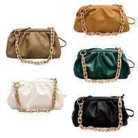 Elegant Women Chain Tote Bag Cloud Leather Shoulder Handbags Female Clutch Purse