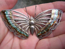 ANTIQUE VINTAGE RAINBOW ENAMELED STERLING SILVER FILIGREE BUTTERFLY PIN BROOCH