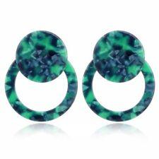 Acrylic Resin Tortoise Shell Double Round Hoop Drop Earrings Fashion Jewelry