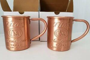2 PACK Tito's Vodka, STILL IN BOXES, Original Copper Moscow Mule Mug.
