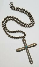 """VTG Native Sterling Silver Large Cross On Bench Bead Necklace 26 3/4"""" Long"""
