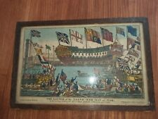 More details for 19thc pinhead engraving print by william belch of the launch of hms thunderer