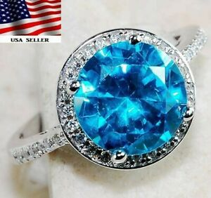 Sale 6CT Aquamarine & Topaz 925 Solid Sterling Silver Ring Sz Jewelry 8, M1
