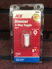 Ace Toggle 3 Way Light Control Dimmer White 600W-120V