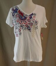 St. John��s Bay, PL, White Knit, Red White & You Top, New with Tags