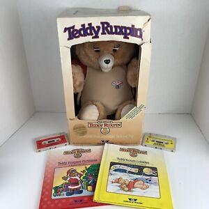 VTG Teddy Ruxpin 1985 W/ 2 Books & Tapes Original Box -  NOT Working Properly