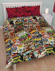 Marvel Comics HEROS Double Reversible Duvet Quilt Cover Bedding Set Official