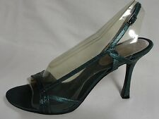 Beautiful Nine West Teal Leather Heels, Size 10M, New