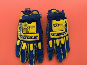 JT Racing Life Line Vintage Motocross Gloves AHRMA Twinshock Blue/Yellow DG